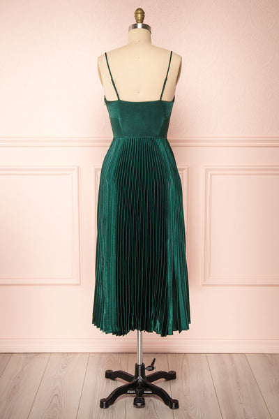 Abetyn Emerald Silky Pleated Midi Dress | Boutique 1861 back view