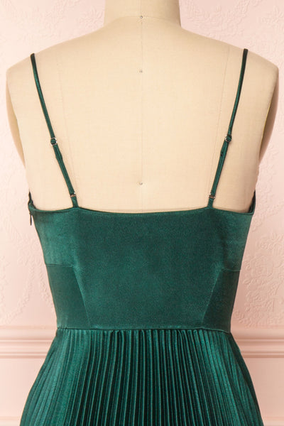 Abetyn Emerald Silky Pleated Midi Dress | Boutique 1861 back close-up