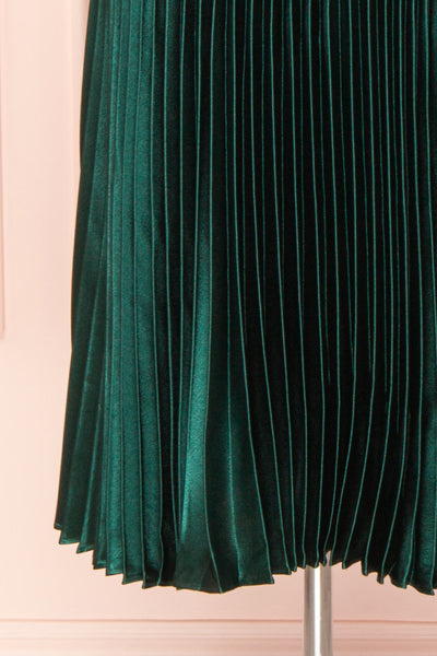 Abetyn Emerald Silky Pleated Midi Dress | Boutique 1861 bottom view
