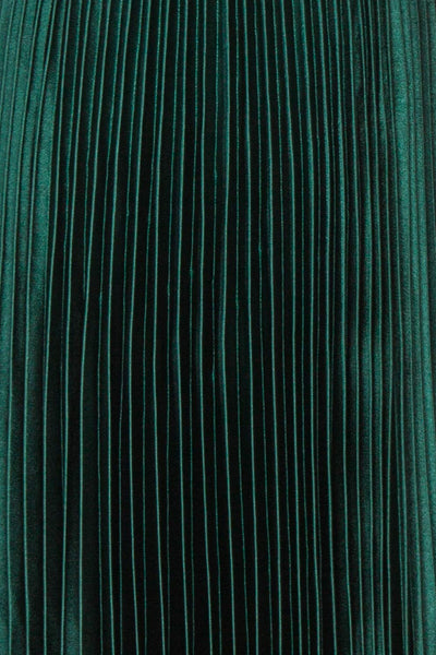Abetyn Emerald Silky Pleated Midi Dress | Boutique 1861 fabric
