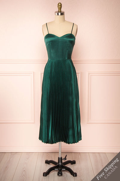 Abetyn Emerald Silky Pleated Midi Dress | Boutique 1861 front view