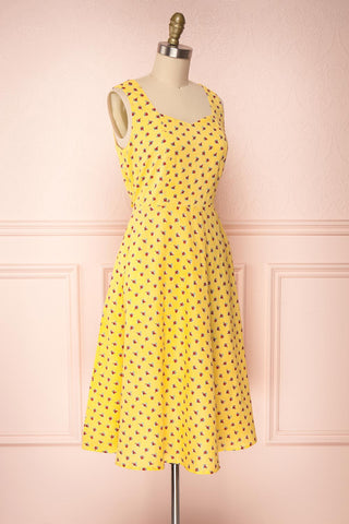 Abiko Yellow Floral A-Line Summer Dress | Boutique 1861 3