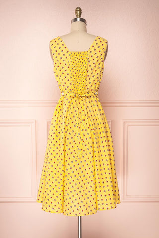 Abiko Yellow Floral A-Line Summer Dress | Boutique 1861 5