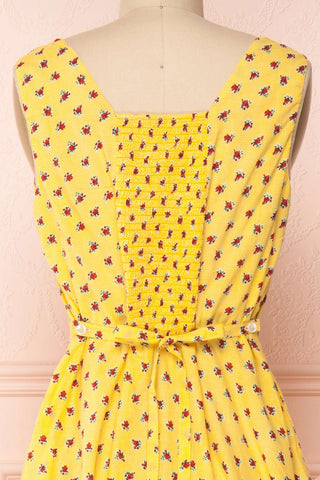 Abiko Yellow Floral A-Line Summer Dress | Boutique 1861 6