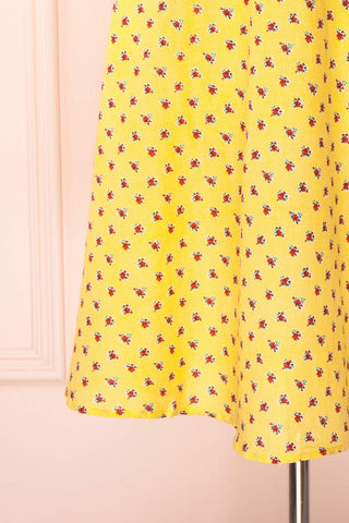 Abiko Yellow Floral A-Line Summer Dress | Boutique 1861 7