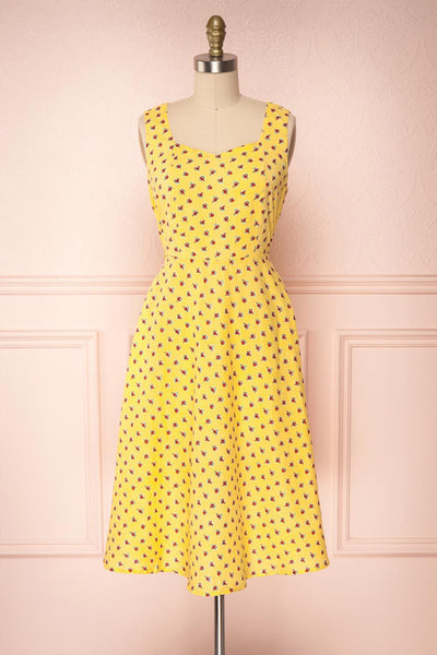 Abiko Yellow Floral A-Line Summer Dress | Boutique 1861