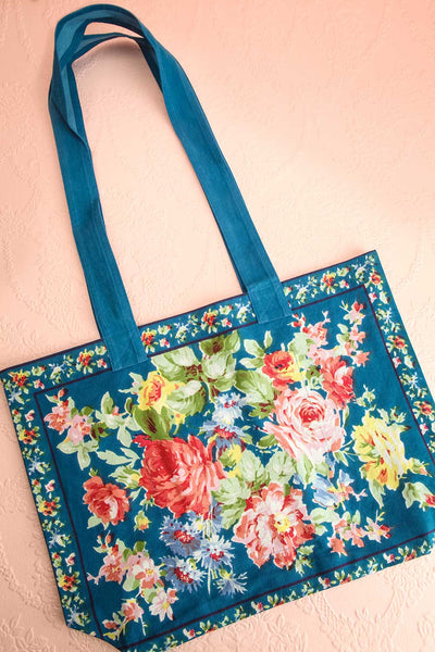 Ablutio Teal Tote Bag with Colourful Floral Print | Boutique 1861 1