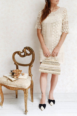 Acacie Beige Crocheted Lace Tunic Dress | Boutique 1861 2