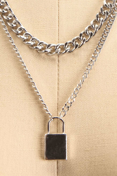 Acarus Argent Silver Chain Necklace with Padlock close-up | La Petite Garçonne