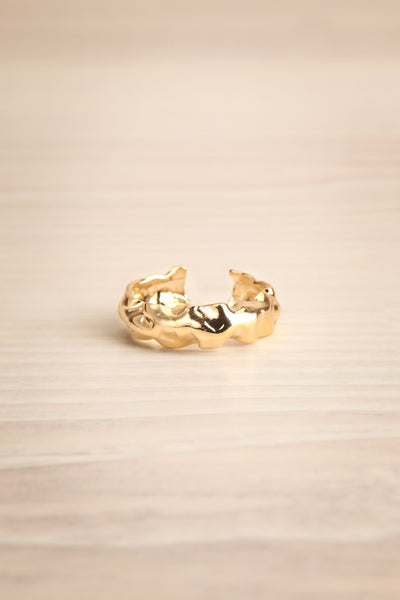 Acatium Golden Open Ring with Beaten Effect | La Petite Garçonne 1
