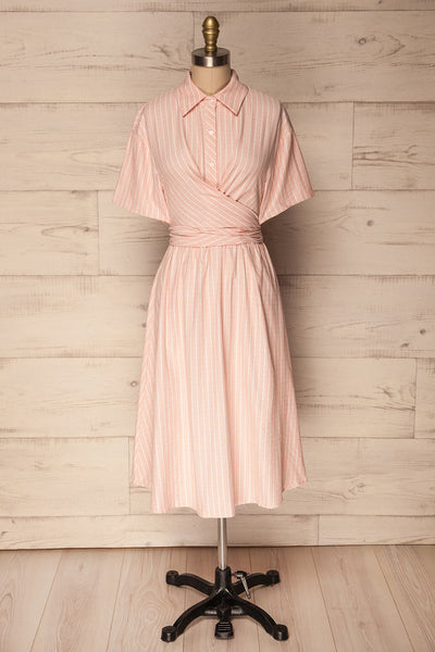 Accrington Pink Striped Button-Up A-Line Summer Dress | Boutique 1861 1