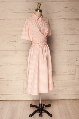Accrington Pink Striped Button-Up A-Line Summer Dress | Boutique 1861 5