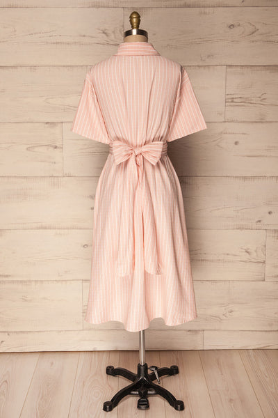 Accrington Pink Striped Button-Up A-Line Summer Dress | Boutique 1861 7