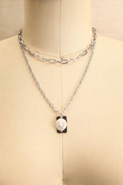 Acrius Silver Layered Chain Necklace w Pendants | La Petite Garçonne 1