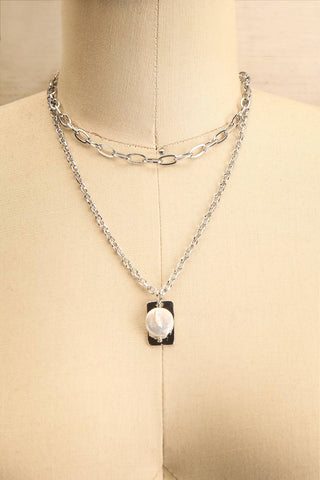 Acrius Silver Layered Chain Necklace w Pendants | La Petite Garçonne