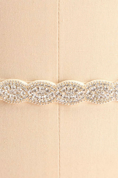 Adactus White Ribbon Belt with Crystal Ornament | Boudoir 1861 4