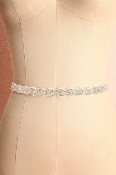 Adactus White Ribbon Belt with Crystal Ornament | Boudoir 1861 3