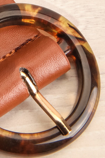 Addo Brown Faux Leather Belt with Amber Buckle | La Petite Garçonne 4