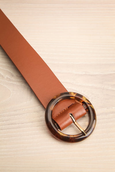 Addo Brown Faux Leather Belt with Amber Buckle | La Petite Garçonne 3