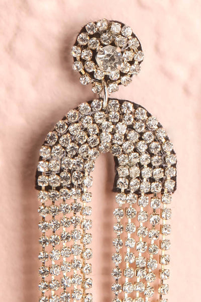 Adeas Silver Statement Crystal Pendant Earrings | Boutique 1861 close-up