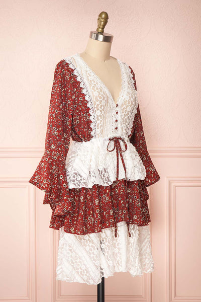 Adeline Burgundy & White Lace Dress | Robe | Boutique 1861 side view
