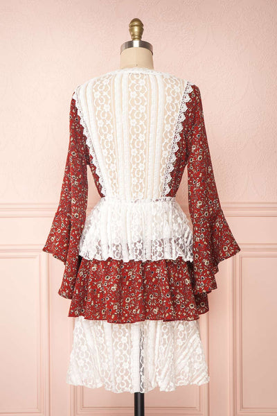 Adeline Burgundy & White Lace Dress | Robe | Boutique 1861 back view
