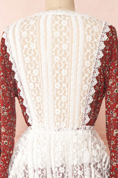Adeline Burgundy & White Lace Dress | Robe | Boutique 1861 back close-up