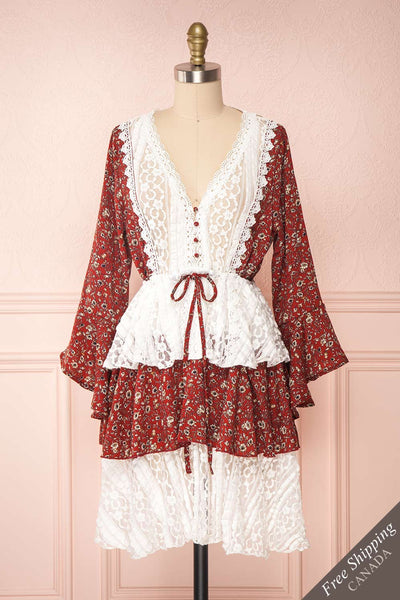 Adeline Burgundy & White Lace Dress | Robe | Boutique 1861 front view