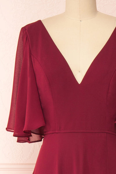 Adelphia Burgundy Chiffon Maxi Dress | Boutique 1861  front close-up