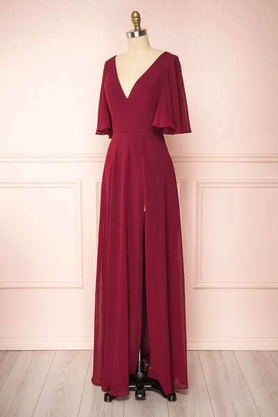 Adelphia Burgundy Chiffon Maxi Dress | Boutique 1861  side view