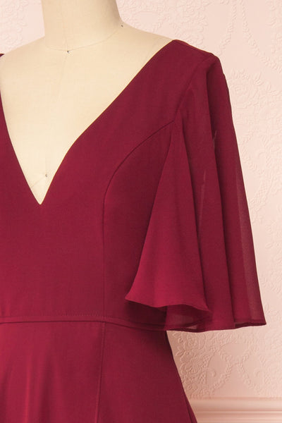 Adelphia Burgundy Chiffon Maxi Dress | Boutique 1861  side close-up