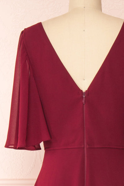 Adelphia Burgundy Chiffon Maxi Dress | Boutique 1861  back close-up
