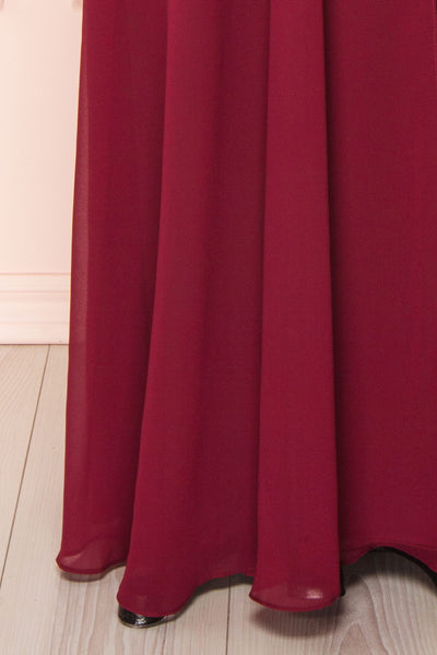 Adelphia Burgundy Chiffon Maxi Dress | Boutique 1861  bottom