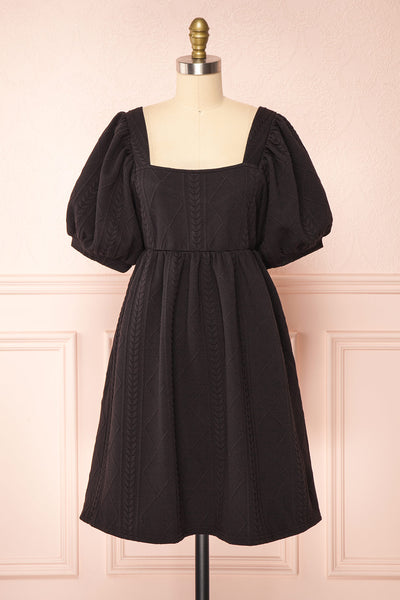 Adema Black Puffy Sleeve Knitted Dress | La petite garçonne front view