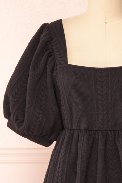 Adema Black Puffy Sleeve Knitted Dress | La petite garçonne  front close-up