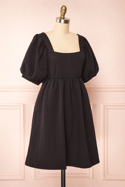 Adema Black Puffy Sleeve Knitted Dress | La petite garçonne side view