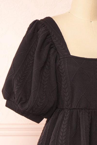 Adema Black Puffy Sleeve Knitted Dress | La petite garçonne side close-up