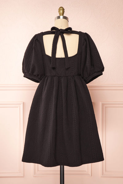 Adema Black Puffy Sleeve Knitted Dress | La petite garçonne back view