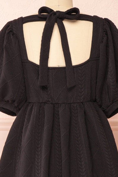 Adema Black Puffy Sleeve Knitted Dress | La petite garçonne back close-up