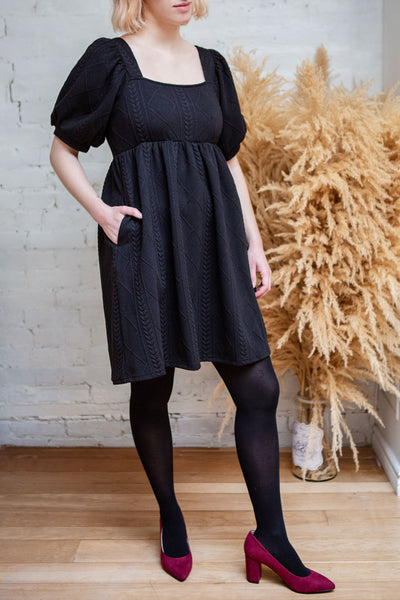 Adema Black Puffy Sleeve Knitted Dress | La petite garçonne model
