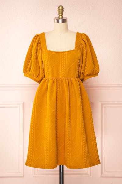 Adema Mustard Puffy Sleeve Knitted Dress | La petite garçonne front view