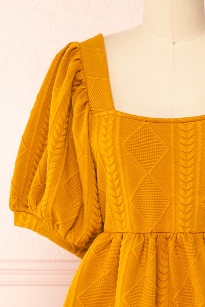 Adema Mustard Puffy Sleeve Knitted Dress | La petite garçonne front close-up