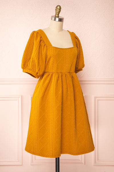 Adema Mustard Puffy Sleeve Knitted Dress | La petite garçonne side view