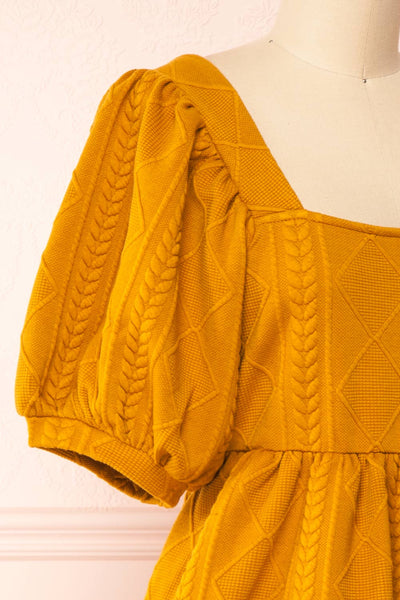 Adema Mustard Puffy Sleeve Knitted Dress | La petite garçonne side close-up