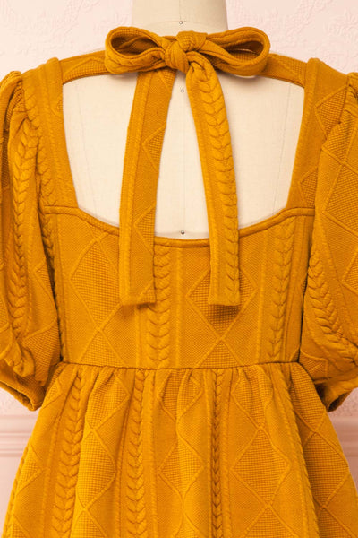 Adema Mustard Puffy Sleeve Knitted Dress | La petite garçonne back close-up