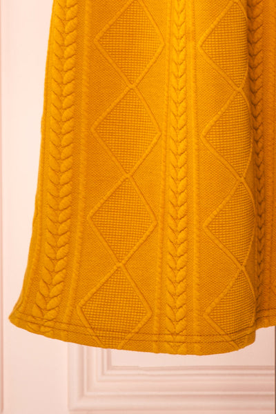 Adema Mustard Puffy Sleeve Knitted Dress | La petite garçonne bottom