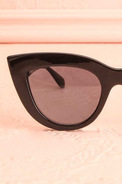 Adfero Licorice Black Cat-Eye Sunglasses close-up | Boutique 1861