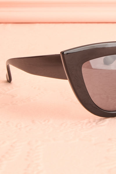 Adfero Licorice Black Cat-Eye Sunglasses side close-up | Boutique 1861