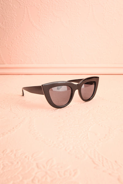 Adfero Licorice Black Cat-Eye Sunglasses side view | Boutique 1861