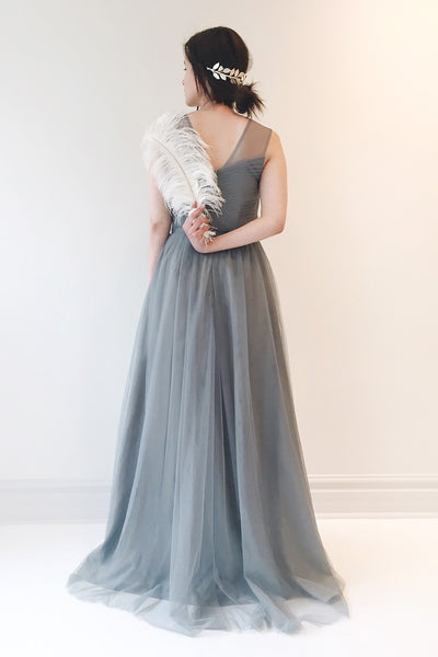 Adifa Sea Blue-Grey Net Tulle Sleeveless A-Line Gown | Boudoir 1861 10